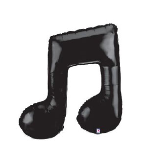 Black Music Note Double Balloon- 40 Inch