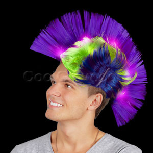 LED Mohawk Wig - Blue and Purple