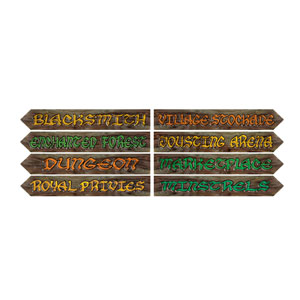 Medieval Street Sign Cutouts - 4ct