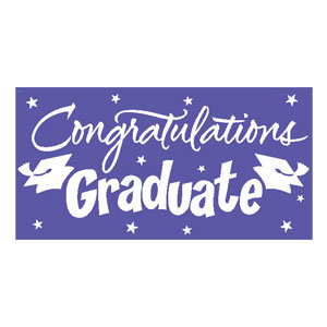 Purple Congrats Grad 10 ft. Banner