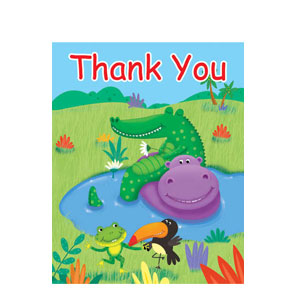 Jungle Buddies Fill-In Thank You Cards- 8ct