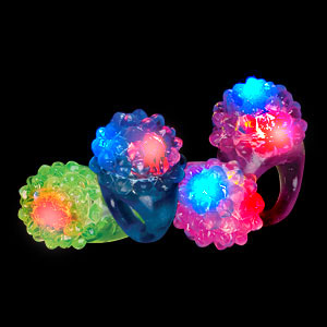 LED Jelly Bumpy Rings - Assorted