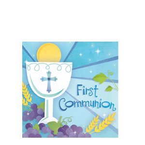 First Communion Blue Luncheon Napkins- 36ct