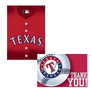 Texas Rangers Invitations and Thank You Cards Set- 16ct