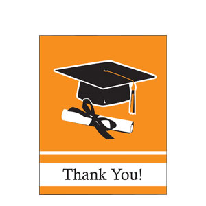 Orange Grad Thank You Card