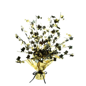New Years Black and Gold Top Hat Centerpiece - 15in
