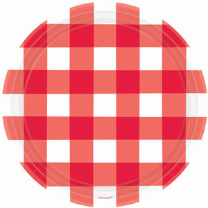 American Red Gingham 10 inch Plates - 8ct