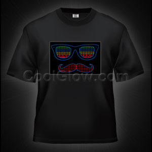 LED Sound Activated T-Shirt -Mustache