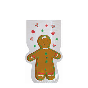 Gingerbread Man Shaped Party Bag- 20ct