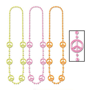 Peace Sign Beads - 36in