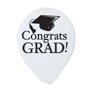 White Grad Latex Balloon