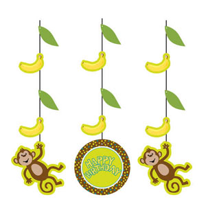 Monkeyin' Around Printed Hanging Cutouts- 3ct