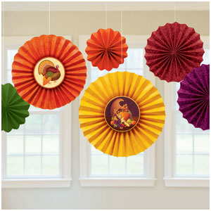 Thanksgiving Paper Fan Decorations- 6ct