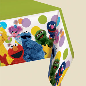 Sesame Street Party Plastic Tablecover- 102in
