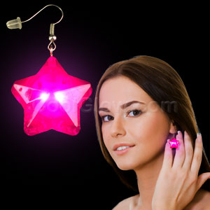 LED Star Earrings - Pink