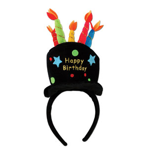 Plush Happy Birthday Headband - Full Size
