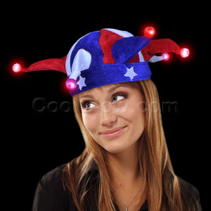Fun Central O565 LED Light Up Jester Hat - Red-White-Blue