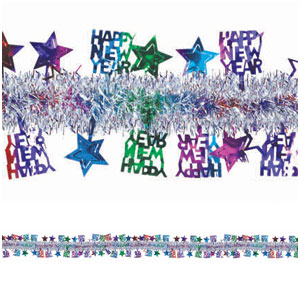 Happy New Year Tinsel Garland - 15ft