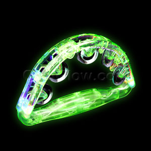 Fun Central G701 LED Light Up Tambourine 8 Inch - Green