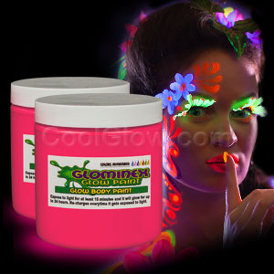 Glominex Glow Body Paint 8oz Jar - Pink
