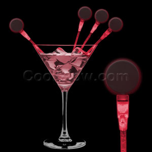 LED Circle Cocktail Stirrers - Red