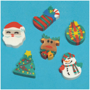 Holiday Fun Erasers- 12ct