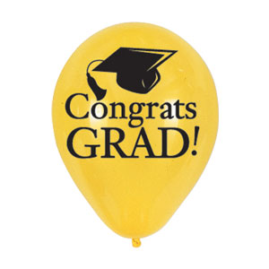 Grad Latex Balloon - Yellow