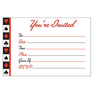 Card Night Postcard Invitations- 8ct