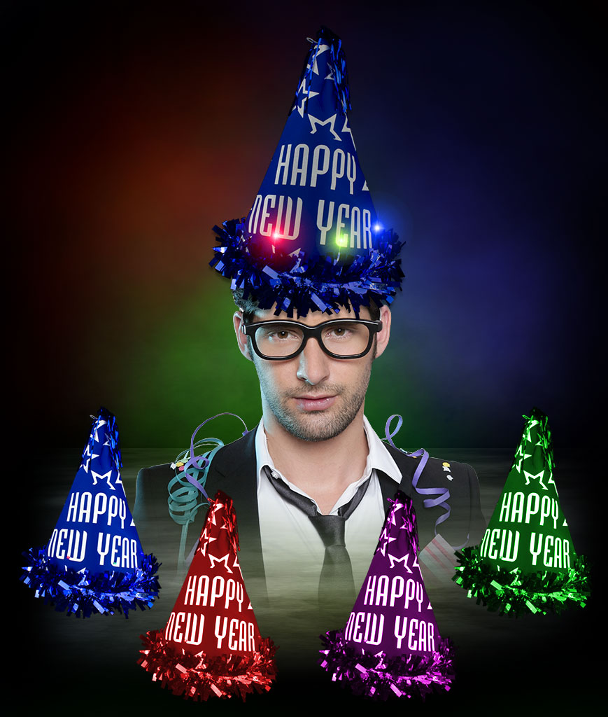 LED Happy New Year Party Cone Hats