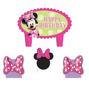 Disney Minnie Mouse Mini Molded Cake Candles- 4ct