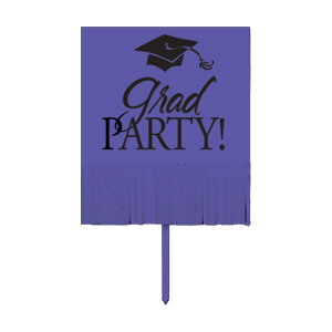 Grad Fringe Yard Sign - Purple