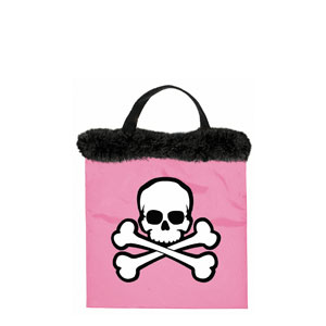 Pink Skull and Crossbone Tote- 12in