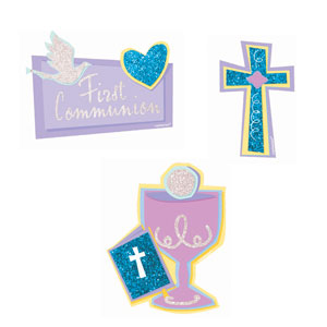 Communion Mini Glitter Cutouts- 10ct
