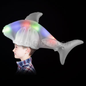 LED Inflatable Shark Hat