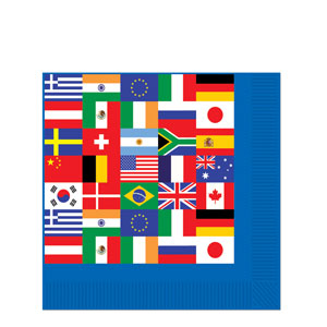 International Flag Luncheon Napkins- 16ct