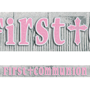 First Communion Pink Glitter Letter Banner- 12ft
