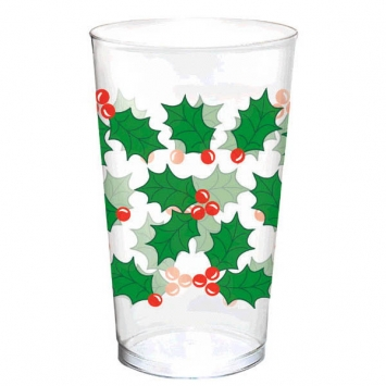 Holly Plastic Tumbler- 25 Pack 16 oz