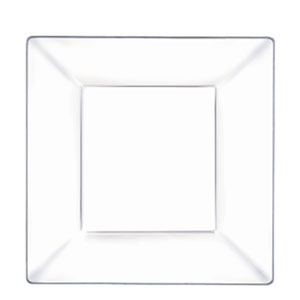 Plastic Square Plate- Clear 8 Inch 10ct