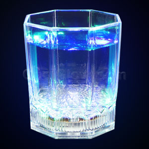 LED 6oz Liquid Activated Faceted Glass - Multicolor