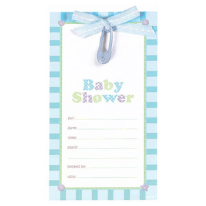Safety Pin Fill-In Invitation - Blue