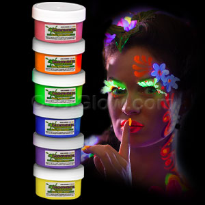 Glominex Glow Body Paint 2oz Jars - Assorted