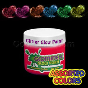 Glominex™ Glitter Glow Paint 4 oz Assorted Jars - 6