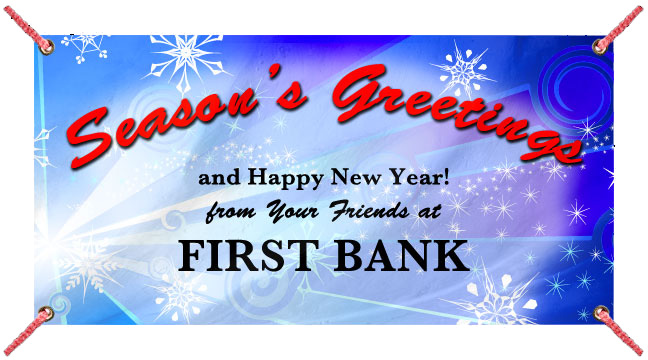 Dark Blue Snow Burst 'Seasons Greetings' - Custom Banner