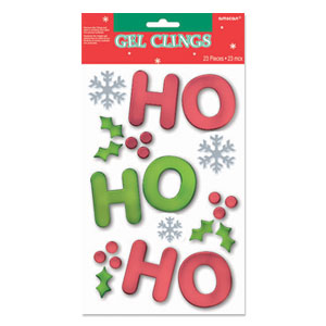 HO HO HO Small Christmas Gel Clings- 10 Inch
