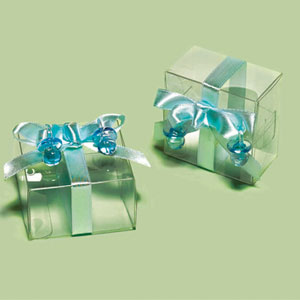 Clear Decorated Favor Boxes - Blue
