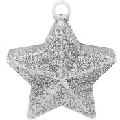 Star Glitter Balloon Weight - Silver