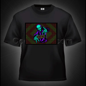 LED Sound Activated T-Shirt - Skeleton DJ
