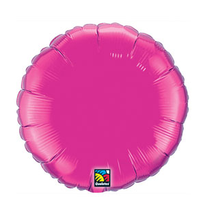 18 Inch Round Metallic Balloon - Magenta
