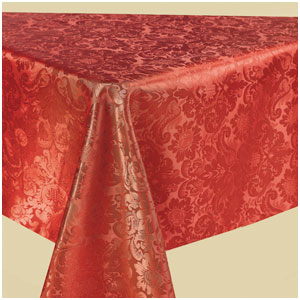 Red Damask Fabric Table Cover- 84 Inch