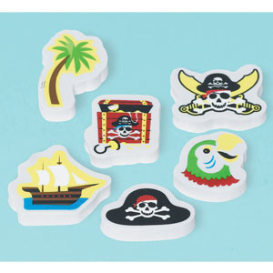 Piraty Party Erasers- 12ct